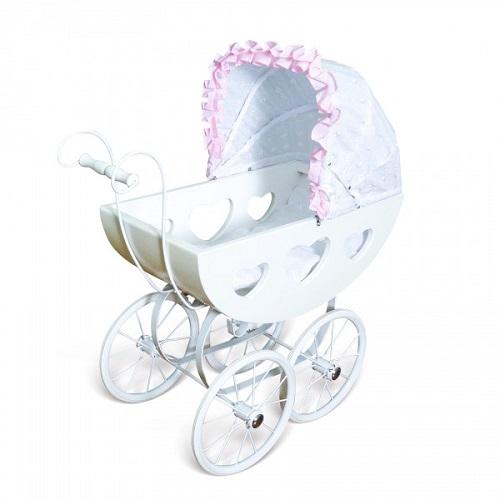 Heart Pram Doll Stroller: Regal- White Heart Wooden Dolls Pram