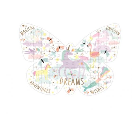 Floss & Rock - 80 Piece Butterfly Shaped Jigsaw Puzzle - Fantasy