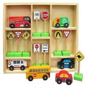 Fun Factory - Wooden Vehicle and Traffic Sign Set