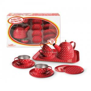 Kaper Kidz - Tin Tea Set Red Polka Dot