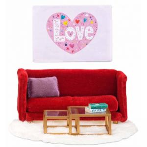 Lundby Smaland Dollhouse  - Red Sitting Room Set